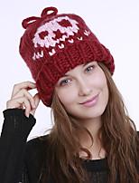 Недорогие -Для женщин Винтаж Очаровательный На каждый день Широкополая шляпа,Зима Акрил Романский трикотаж Цветочный Плетение Черный Розовый Бежевый
