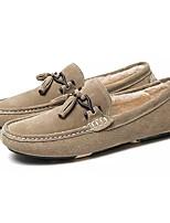 Для мужчин обувь Свиная кожа Зима Удобная обувь Мокасины Мокасины и Свитер Назначение Повседневные Черный Серый Красный Хаки