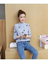 abordables -Mujer Bonito Ropa Cotidiana Camisa,Cuello Camisero Floral Manga Larga Algodón