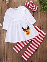 Girls' Solid Striped Floral Clothing Set,Cotton Polyester Fall Spring, Fall, Winter, Summer Long Sleeves Cute Casual Active Street chic