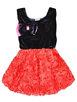 cheap -Girl's Christmas Daily Solid Dress,Cotton Winter Fall Sleeveless Cute Princess Red Fuchsia
