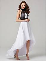cheap -A-Line High Neck Asymmetrical Chiffon Formal Evening Dress with Sash / Ribbon Pleats by TS Couture®