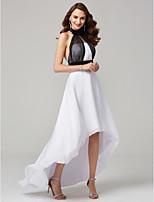 economico -Linea-A Collo alto Asimmetrico Chiffon Serata formale Vestito con Fascia / fiocco in vita A pieghe di TS Couture®