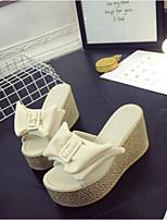 Недорогие -Для женщин Обувь Полиуретан Лето Удобная обувь Тапочки и Шлепанцы Плоские Открытый мыс для Повседневные Черный Бежевый Зеленый