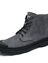 Men's Shoes Suede Spring Fall Comfort Combat Boots Boots for Casual Gray Black