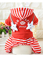 Dog Jumpsuit Dog Clothes Casual/Daily Stripe Letter & Number Red Black Costume For Pets