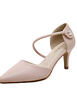 Women's Shoes Leatherette Spring Summer Basic Pump Heels Kitten Heel Pointed Toe Sparkling Glitter Buckle for Casual Dress Almond Pink