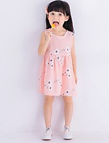 Girl's Birthday Going out Floral Dress,Polyester Summer Sleeveless Cute Active Blushing Pink Purple Light Blue