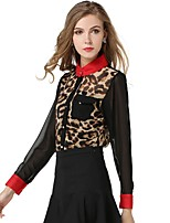 cheap -Women's Holiday Going out Cute Active Street chic All Seasons Blouse,Leopard V Neck Long Sleeve Polyester Medium