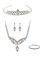 abordables -Femme Tiare Nuptiales Parures Strass Imitation Diamant Alliage Mode Européen Mariage Soirée Bijoux de Corps 1 Collier Boucles d'oreille