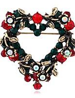 abordables -Mujer Broche Cristal Rubí sintético Europeo Legierung Corazón Joyas Para Navidad