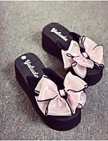 Недорогие -Для женщин Обувь Полиуретан Лето Удобная обувь Тапочки и Шлепанцы Плоские Открытый мыс для Повседневные Черный Пурпурный Розовый