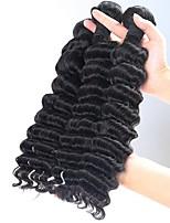 cheap -3 Pieces Natural Black Deep Wave Unprocessed Virgin Brazilian Human Hair Weaves Hair Extensions