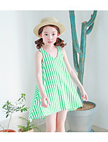 Girl's Casual/Daily Striped Dress,Silk Spring Sleeveless Simple Green
