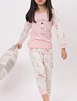 Недорогие -Девочки Пижамы Хлопок С принтом Длинные рукава Простой Синий Оранжевый Розовый Темно-серый