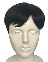 Недорогие -муж. Парики из искусственных волос Короткий Естественные прямые Черный Природные волосы Стрижка каскад Парик из натуральных волос