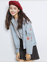 cheap -Women's Daily Casual Fall Denim Jacket,Solid Print Square Neck Long Sleeve Short Cotton