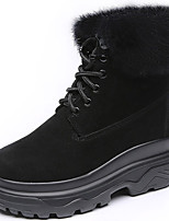 cheap -Women's Shoes Fur Winter Fall Snow Boots Fashion Boots Combat Boots Boots Creepers Round Toe Mid-Calf Boots for Casual Party & Evening