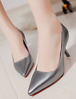 cheap -Women's Shoes PU Spring Comfort Heels Stiletto Heel Pointed Toe Closed Toe for Casual Silver Black White