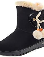 abordables -Mujer Zapatos PU Invierno Otoño Confort Botas de nieve Botas Tacón Plano Dedo redondo Mitad de Gemelo para Casual Negro Marrón