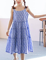 Girl's Print Dress,Cotton Summer Sleeveless Street chic Blue