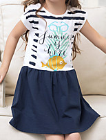 Girl's Casual/Daily Animal Print Dress,Cotton Spring Summer Short Sleeves Simple Cute
