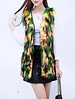 cheap -Women's Daily Casual Winter Fall Fur Coat,Camouflage V Neck Sleeveless Regular Faux Fur