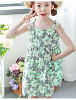 Girl's Holiday Striped Floral Dress,Polyester Summer Sleeveless Simple Green