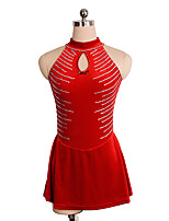 cheap -Figure Skating Dress Women's Girls' Ice Skating Dress Red Spandex Inelastic Performance Practise Skating Wear Solid Sleeveless Ice