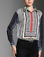 cheap -Women's Daily Casual Fall Shirt,Print Shirt Collar Long Sleeve Cotton Opaque