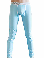 Men's Micro-elastic Solid Long Johns Medium,Cotton Polyester 1pc Blushing Pink Green Blue