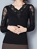 Women's Daily Casual Fall T-shirt,Solid V Neck Long Sleeve Polyester Opaque