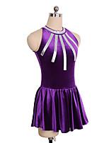 cheap -Figure Skating Dress Women's Girls' Ice Skating Dress Purple Spandex Inelastic Performance Practise Skating Wear Solid Sleeveless Ice