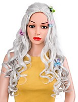 cheap -Women Synthetic Wig Long Natural Wave Grey Natural Hairline Layered Haircut Cosplay Wig Costume Wig
