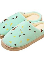 Недорогие -Для женщин Обувь Флис Весна Осень Удобная обувь Тапочки и Шлепанцы Плоские для Повседневные Кофейный Зеленый Синий Розовый
