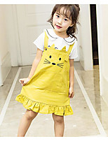 cheap -Girls' Solid Print Clothing Set,Cotton Spring Short Sleeve Simple Cute Blushing Pink Yellow