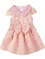 cheap -Girl's Birthday Daily Solid Dress,Cotton Summer Short Sleeves Cute Active Fuchsia Blushing Pink