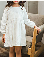 Girl's Casual/Daily Solid Dress,Polyester Winter Fall Long Sleeves Simple White