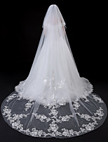 cheap -Two-tier Modern Style Flower Style Accessories Lace Applique Edge Lace European Oversized Bridal Princess Wedding Wedding Veil Blusher