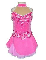 cheap -Figure Skating Dress Women's Girls' Ice Skating Dress Pink Spandex Lace Inelastic Performance Practise Skating Wear Solid Sleeveless Ice