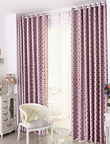 cheap -Rod Pocket Grommet Top Tab Top Double Pleat Pencil Pleat Curtain Kids and Teen , Yarn Dyed Polka dots Bedroom Polyester Blend Material