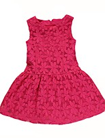 cheap -Girl's Daily Going out Solid Dress,Cotton Summer Sleeveless Cute Active Fuchsia Purple