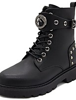 cheap -Women's Shoes PU Winter Comfort Combat Boots Boots Low Heel Round Toe Mid-Calf Boots for Casual Black