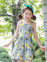 Girl's Going out Print Dress,Cotton Summer Sleeveless Boho Gray