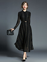 cheap -Women's Party Going out Casual Street chic A Line Chiffon Dress,Solid Stand Midi Long Sleeve Cotton Polyester Spring Summer High Waist