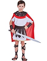 cheap -Gladiator Ancient Greece Ancient Rome Costume Kid Costume Red and White Vintage Cosplay Cloth Demin Half Sleeve Lolita Knee Length