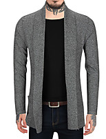 cheap -Men's Daily Sports Regular Cardigan,Solid Color Block Stand Long Sleeves Polyester All Season Thick Micro-elastic