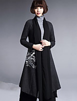 cheap -Women's Casual/Daily Simple Spring Fall Trench Coat,Solid Cowl Long Sleeve Regular Wool Polyester