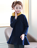 cheap -Girl's Casual/Daily Polka Dot Dress,Cotton Winter Fall Long Sleeve Simple Blue