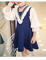 Girl's Casual/Daily Color Block Dress,Polyester Winter Fall Long Sleeves Simple Blue